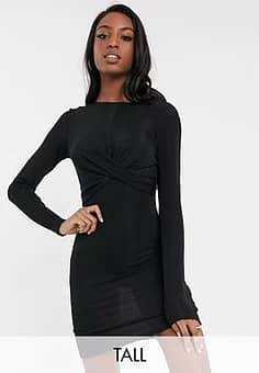 Only  Queen long sleeve glitter bodycon dress with knot front-Black