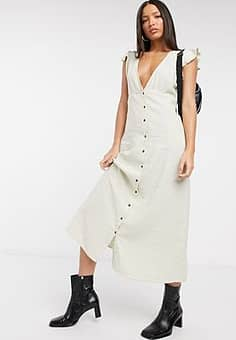 Only button front midi dress in beige