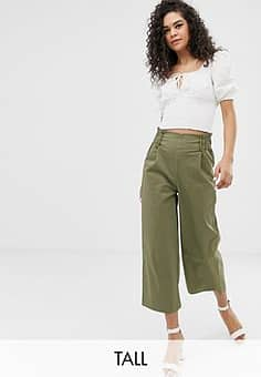 Only cropped wide leg trouser-Green