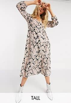 Only midi wrap dress in light pink floral-Multi