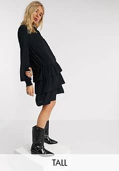 Only mini dress with ruffle detail in black