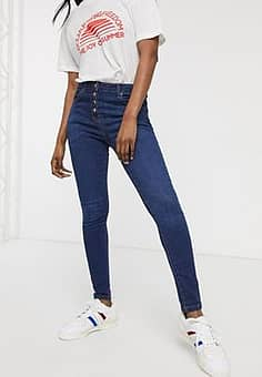 Parisian button up skinny jeans-Blue