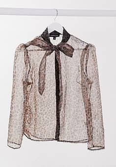 Parisian organza blouse with bow front in leopard print-Multi
