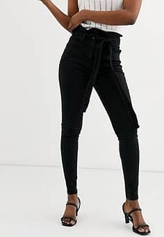 Parisian skinny jeans with paperbag waist-Black