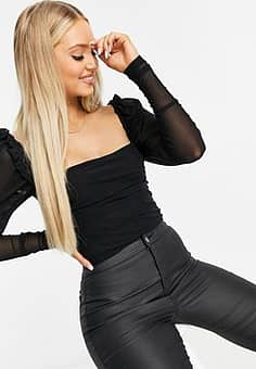 Parisian square neck bodysuit with ruching in black