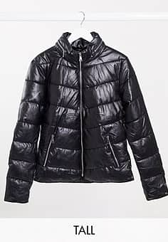 Parisian coated puffer jacket in black
