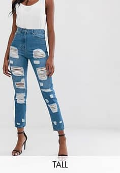Parisian high waisted jeans with extreme distressing detail-Blue