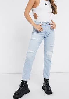 Pepe Jeans Mary high rise distressed straight leg jeans in light wash blue