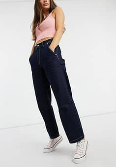 Pepe Jeans Mellany high waist workwear jeans in indigo-Blue