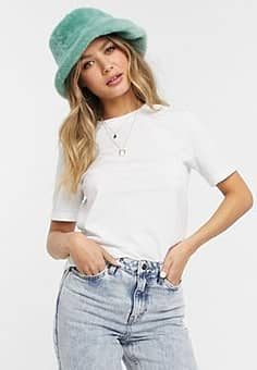 Pieces cotton t-shirt in white