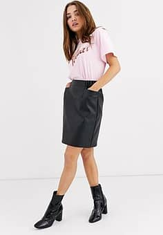 Pieces faux leather mini skirt with over