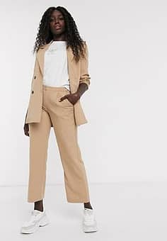 Pieces pinstripe wide leg tailored trousers-Tan