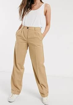 Pieces roll hem straight leg tailored trousers in tan