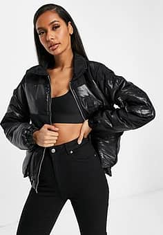 QED London puffer jacket with PU panels in black