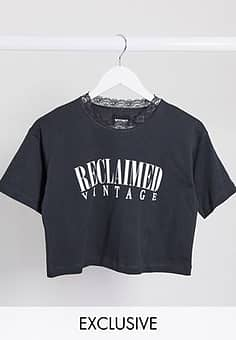 Reclaimed Vintage inspired crop t-shirt with lace neck-Grey