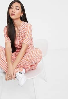 Soaked in Luxury mismatch stripe coord wrap blouse-Pink