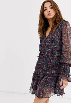 Stevie May Mercy ditsy floral print ruffle dress-Navy