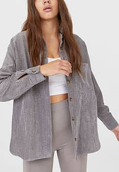 Stradivarius cord boyfriend shirt in grey