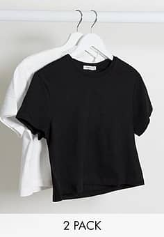 Stradivarius crop t-shirt multipack in black & white