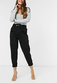 Stradivarius twill relaxed trousers in black