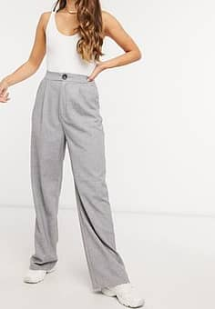 Stradivarius wide leg relaxed trousers in grey
