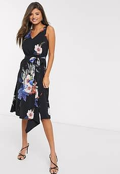 Ted Baker trinni floral bodycon midi dress in black