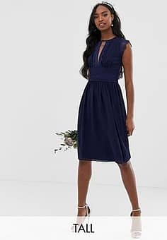 TFNC lace detail midi bridesmaid dress in navy