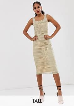 TFNC shimmer mesh ruched midi dress in light gold