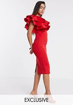 True Violet exclusive frill one shoulder midaxi bodycon dress in red
