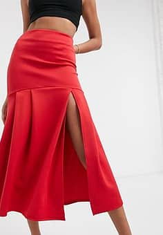 True Violet high waisted fishtail midaxi skirt with split in red