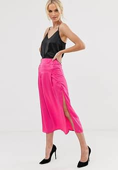 Unique 21 button detail flared skirt-Pink