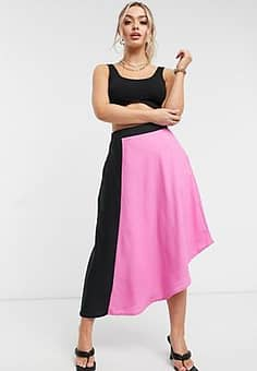Unique 21 contrast panelled skirt in pink and black-Multi