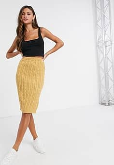 Unique 21 knitted midi skirt in camel-Beige