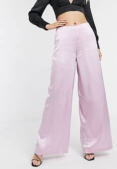 Unique 21 satin wide leg trousers in light pink