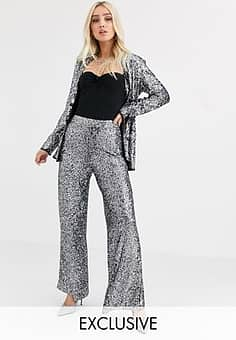 Unique 21 wide leg tuxedo trousers in sequin with contrast side seam co-ord-Silver