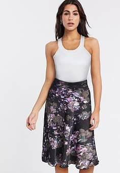 Vero Moda bias cut midi skirt in floral-Multi
