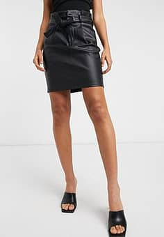Vero Moda leather look mini skirt with paperbag waist in black