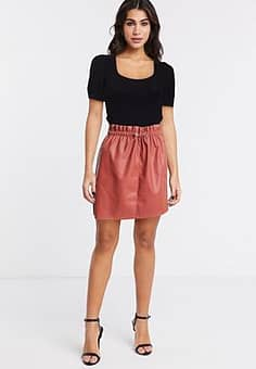 Vero Moda PU paperbag waist skirt-Brown