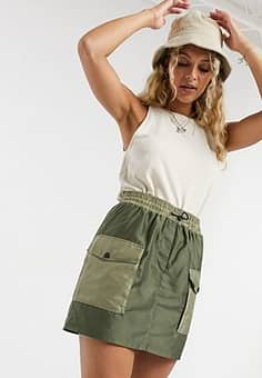 Vero Moda utility cargo skirt in green