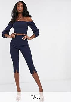 Vesper cropped skinny trousers with front split detail co ord in navy