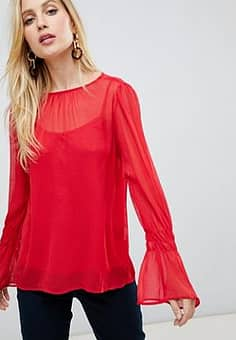 Vila fluted sleeve blouse-Red