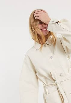 Weekday Clay worker jacket in ecru-Cream