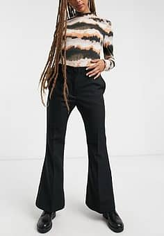 Weekday Dahna wide leg tailored trousers in black