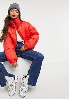 Weekday Hedda short padded jacket in red