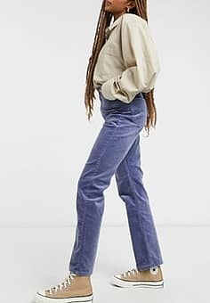 Weekday Rowe organic cotton straight leg cord trousers in steel blue