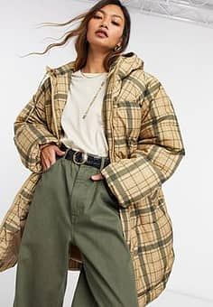 Weekday Rut recycled check padded jacket in beige