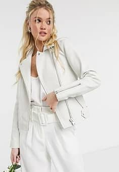 Y.A.S leather jacket with croc effect in cream-White