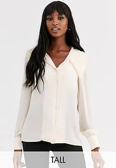 Y.A.S Arilla long sleeve large collar blouse-White