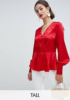 Y.A.S jacquard button through top-Red