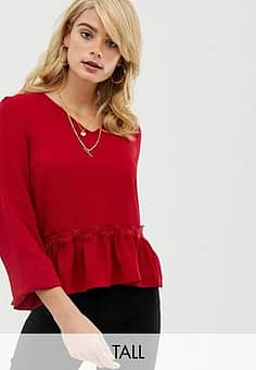 Y.A.S Lumine frill hem blouse-Red
